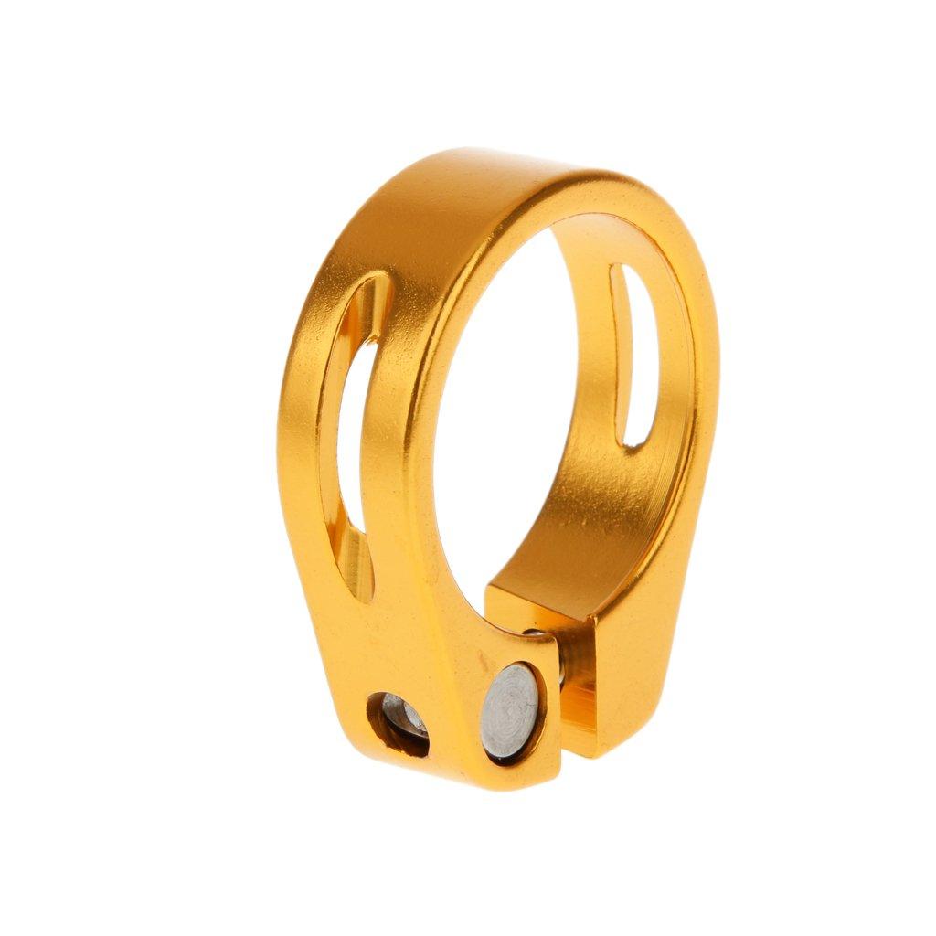 【ノーブランド 品】アルミニウム合金 31.8mm  クイック リリース マウンテン バイク シートポストクランプ チューブクリップ 全5色選べる ゴールド B01FCQLVC2