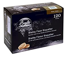 The secret to the Bradley Smoker is the Bradley flavor Bisquettes. To produce the bisquettes, the hardwood chippings are bound together using precise quantities, at controlled pressures and densities from chippings of the natural hardwoods an...