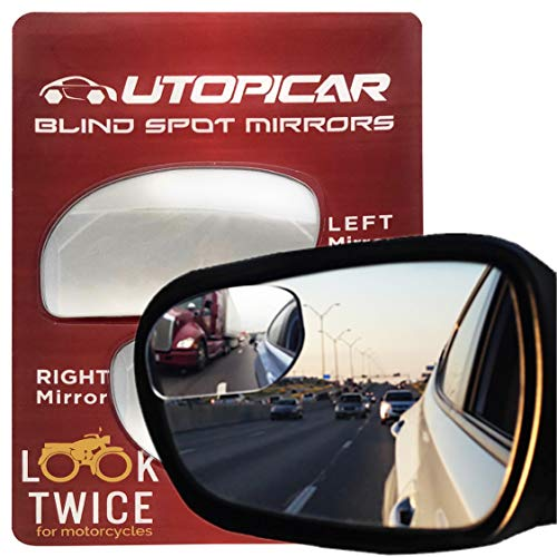 (Utopicar Blind Spot Mirrors. Unique Design Car Door Mirrors/Mirror for Blind Side Engineered for Larger Image and Traffic Safety. Awesome Rear View! [Frameless Design] (2 Pack))