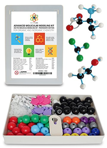Molecular Model Kit with Molecule Modeling Software and User Guide - Organic, Inorganic Chemistry Set for Building Molecules - Dalton Labs 252 Pcs Advanced Chem Biochemistry Student (Dna Molecular Model)