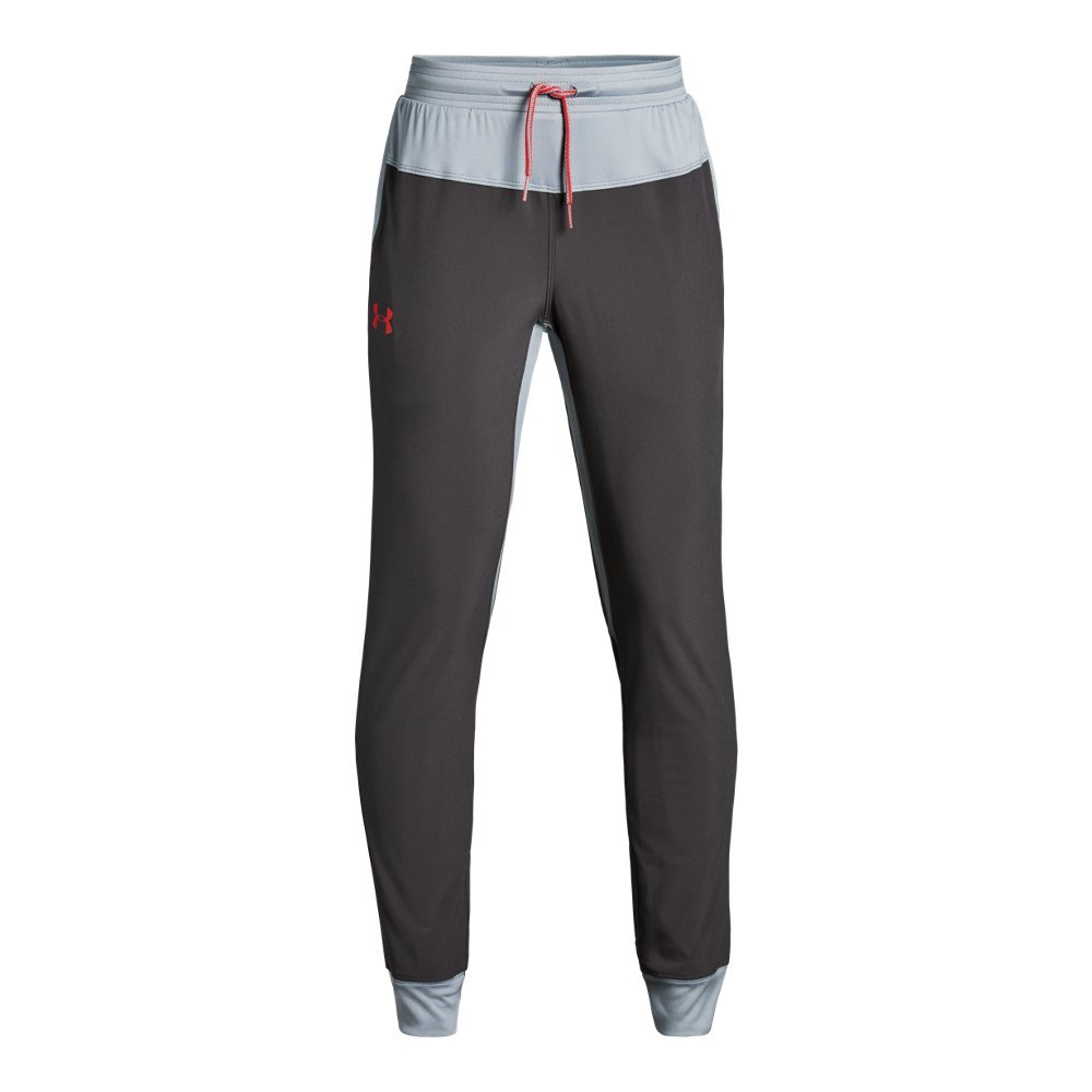 Under Armour Boys Jersey Lined woven Pants, Charcoal (019)/Radio Red, Youth Small by Under Armour