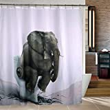 Kinlo Mildew Resistant Shower Curtain 72 by 80 Bathroom Waterproof 100% Polyester Fabric Shower Curtain Elephant Toilet Curtains with 12 Hooks