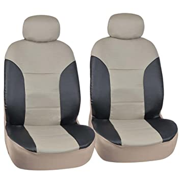 Motor Trend Black Beige Two Tone PU Leather Car Seat Covers