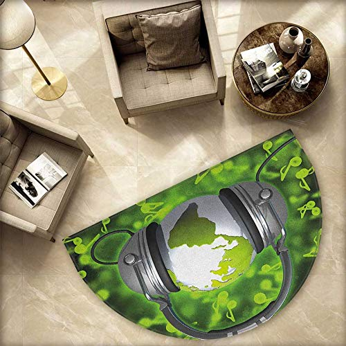 World Semicircle Doormat World of Music Themed Composition DJ Headphones Musical Notes and Earth Globe Halfmoon doormats H 78.7