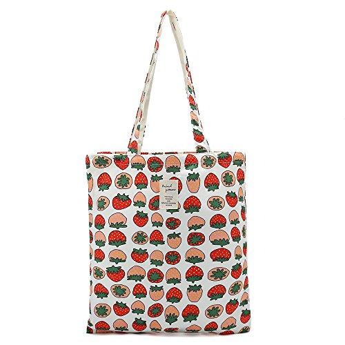 Women's Canvas Tote Shoulder Bag Stylish Shopping Casual Bag Foldaway Travel Bag (Bag-strawberry)