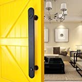 WINSOON New Design 15.75'' Pull and Flush Barn Door Handle Black Metal for Sliding Door Hardware 1PC with Two Screws Black