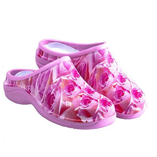 Backdoorshoes Waterproof Premium Garden Clogs with Arch Support -Pink Rose Design