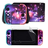 Taifond Decals Stickers Set Faceplate Skin +2Pcs Screen Protector for Nintendo Switch Console & Joy-Con Controller & Dock Protection Kit (Purple Spark)