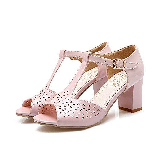 AllhqFashion Women's PU Kitten-Heels Open Toe Solid Buckle Sandals Pink 0tyCS0P