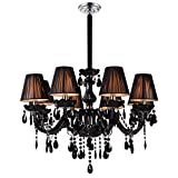 LWD Crystal Chandeliers Light Hanging Ceiling Light Fixture with Adjustable Height and Hand-polished Black Crystal Beads for Dining Room, Corridor, for Indoor, 8 Lights, Black