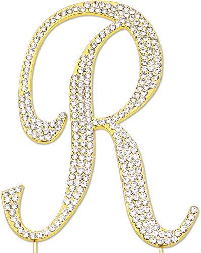 Sparkly Rhinestones Letter R Cake Topper, Birthday Wedding Anniversary Gold Initial R