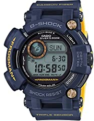 "The Frogman GWF-D1000NV-2JF has a yellow Frogman logo and ""Triple Sensor"" lettering, gold front screws, and a yellow inner band. The GWF-D1000NV-2JF has a compass, thermometer, and water depth meter which can all be used while diving. It also..."