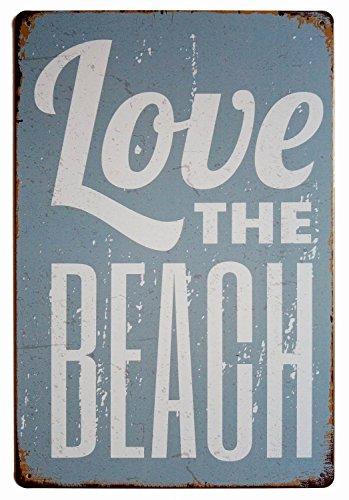 (ERLOOD Love The Beach Vintage Funny Tin Sign Wall Retro Metal Bar Pub Poster 8 x)