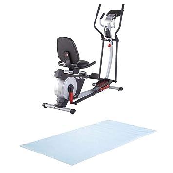 Proform híbrida Trainer Pro cruzado Cardio bicicleta estática/elíptica + Alfombrilla de suelo