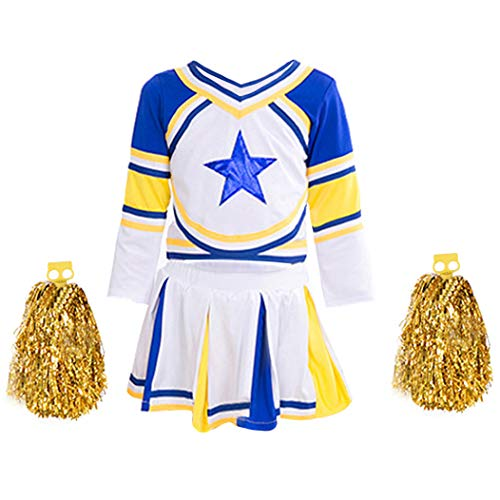 Girls Cheerleader Costume Uniform Blue Star Cheerleading Outfit Match Pom Poms -