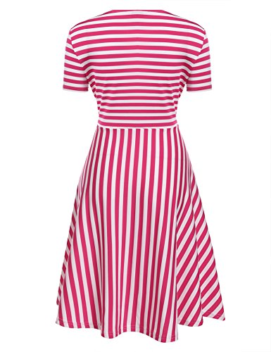 Bow Pleated Women's Party Classy ACEVOG Rose Swing Dress Red Vintage Cocktail fXgYxXwqan