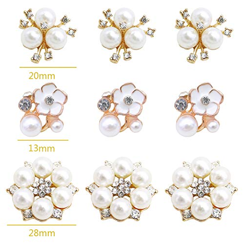30 Pcs Rhinestone Pearl Embellishments, Faux Pearl Flower Embellishments, Flatback Pearl Buttons for Wedding Party Home Decoration and DIY Christmas Crafts