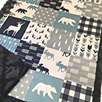 "Baby Boy Woodland Deer Moose Bear Patchwork Minky Blanket Infant Toddler 28""x40"""