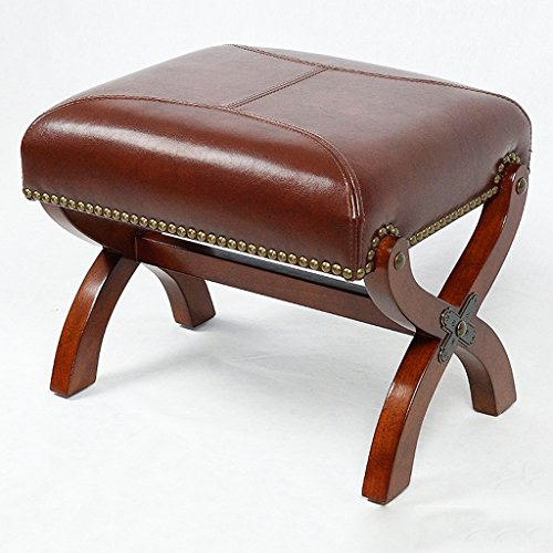 Solid Wood Stool, Leather Stool Sofa Stool Coffee Table Stool, Home Brown Shoes Stool Lounge Chair (48 38 39CM) ()