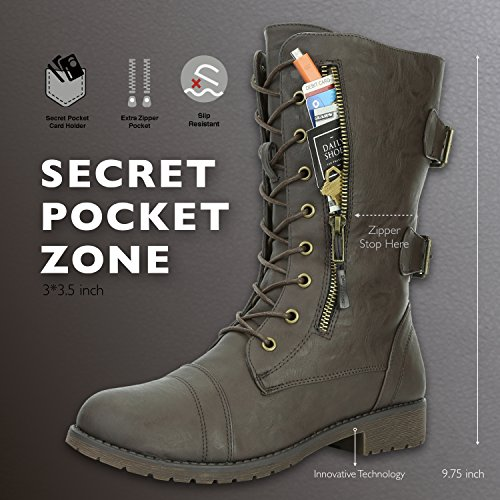 Women's Card brown Buckle Exclusive Credit Mid High Boots Knee Combat pu Pocket Up PU Military rqxEOwfvr