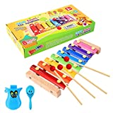 Image of WEfun Xylophone,Wood Instrument Toy with 8 Bright MultiColor bars and 4 Child-Safe Wooden Mallets Bonus a Clever Whistle and Maracas for a Mini Kids Band