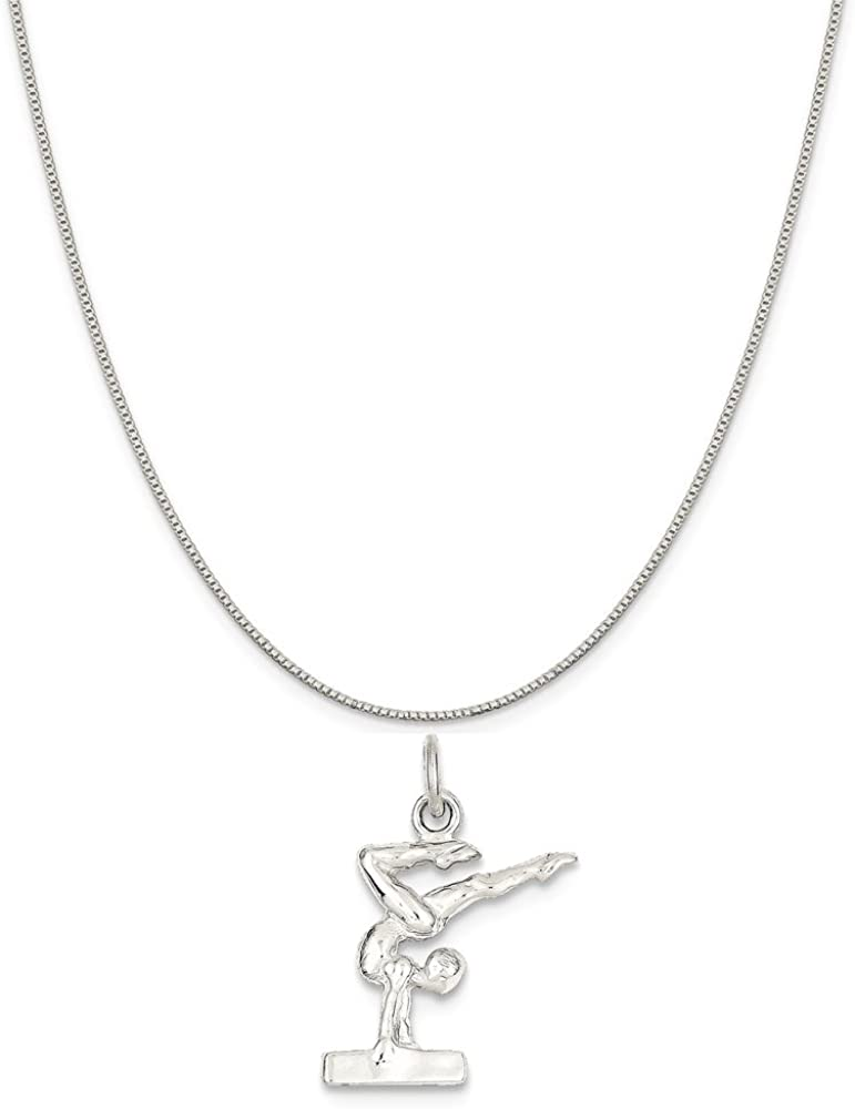 Mireval Sterling Silver Gymnast Charm on a Sterling Silver Chain Necklace 16-20