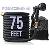 Flexible & Expandable Garden Hose with Nozzle: Lightweight Heavy Duty No Kink Expanding Outdoor Water Hoses with Sprayer - Expands from 25 to 75 ft - 8 Function Spray Nozzles & Brass Fittings - Black