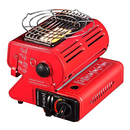 Camplux JK-1000 Portable Butane Heater, 4,400 BTU Outdoor Camping Gas Heater, Patio Heaters Adjustable Ceramic Gas Burner, Space Heater for RV Travel,Outdoor Heating,Fishing,Red ()