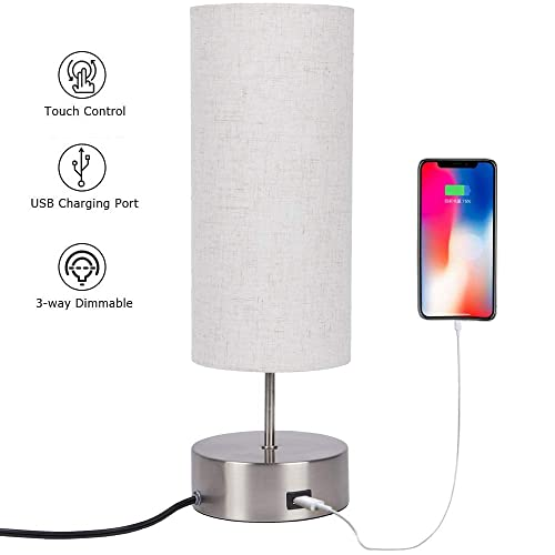 Touch Control Table Lamp Bedside with USB Charging Port,3 Way Dimmable Touch Lamps Modern Nightstand Lamp with Sand Nickel Base and Cylindrical Linen Lampshade for Bedroom Living Room Office