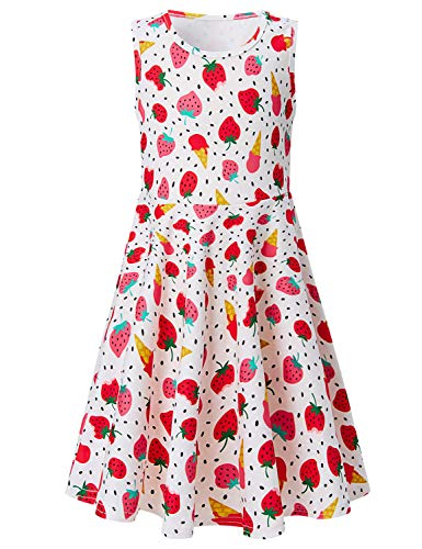 Toddler Girls Summer Dress Strawberry Ice Cream Sleeveless Casual Dress for Kids 4-5T