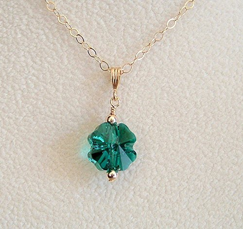 Dark Green Clover Swarovski Elements Jewelry Pendant 18 Inch Gold Filled Chain Necklace ()