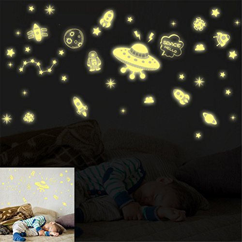 Peize HOT!!! Wall Decal Stickers Kids Boys Space Rocket Glow In Dark Reusable Playroom (45 x 60cm, (Easy Diy Goddess Costume)
