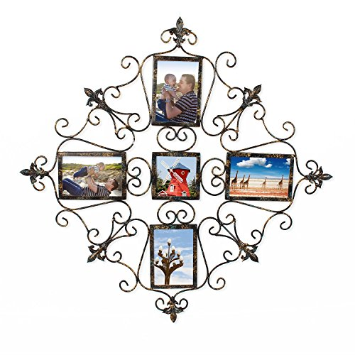 HOMEBEEZ 5-opening Metal Photo Picture Collage Frame, Antique Vintage Style, Classy Home Decor Accents PF0600