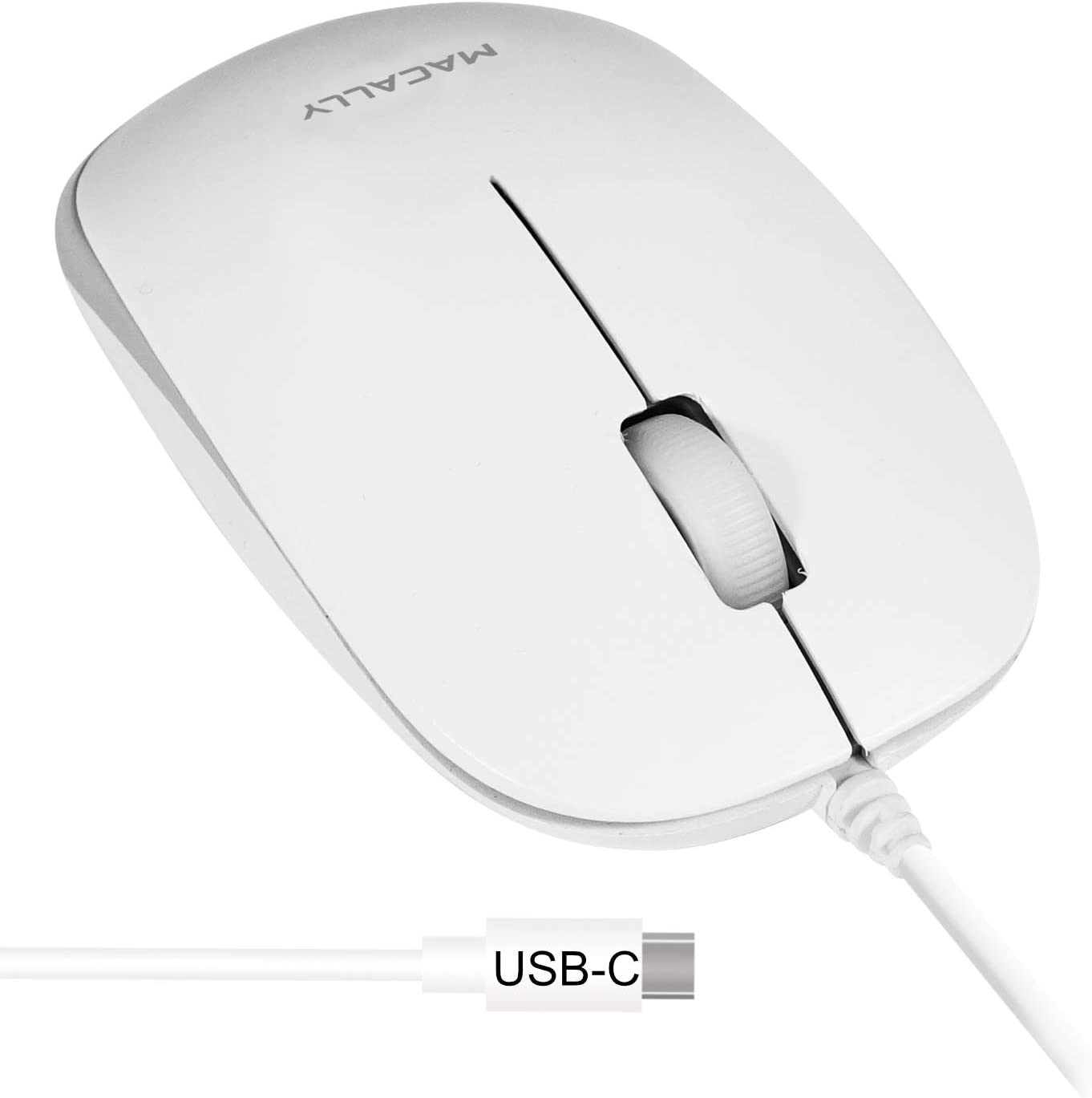 Macally Wired Type C Mouse for Mac and Windows - Compact Ambidextrous Design with Soft Click Buttons - USB C Mouse with 1200 DPI Sensor and 5ft Cable - Simple Corded Mouse USB C for Newer Gen Devices