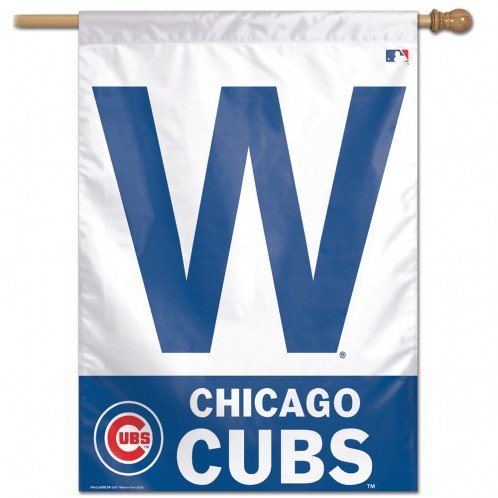MLB Chicago Cubs Vertical Flag-W Logo (28 x 40 Cubs Flag)