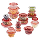 Rubbermaid TakeAlongs Assorted Food Storage Containers, 40-Piece Set, Racer Red