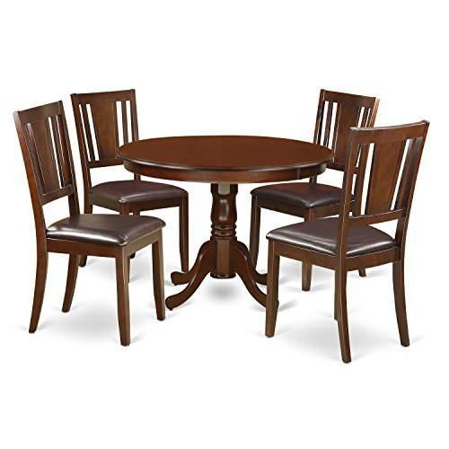 Mahogany Dining Room - East West Furniture HLDU5-MAH-LC 5 PC Hartland Set with One Round 42in Dinette Table & 4 Kitchen Chairs with Faux Leather Seat in a Attractive Mahogany Finish