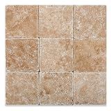 Walnut Travertine 4 X 4 Tumbled Field Tile - 4-pcs. Sample Set