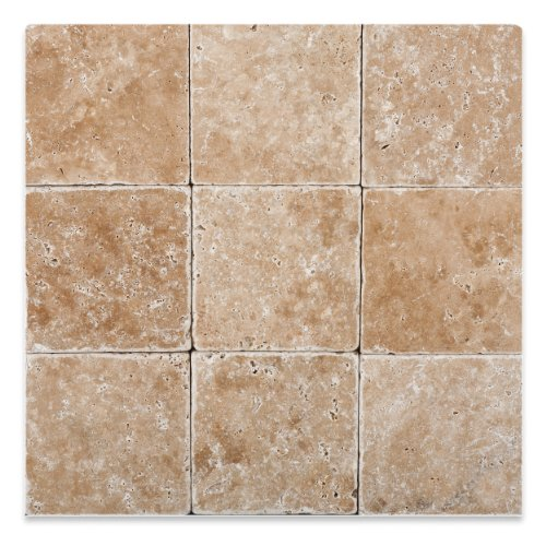 (Walnut Travertine 4 X 4 Tumbled Field Tile - 4-pcs. Sample Set)