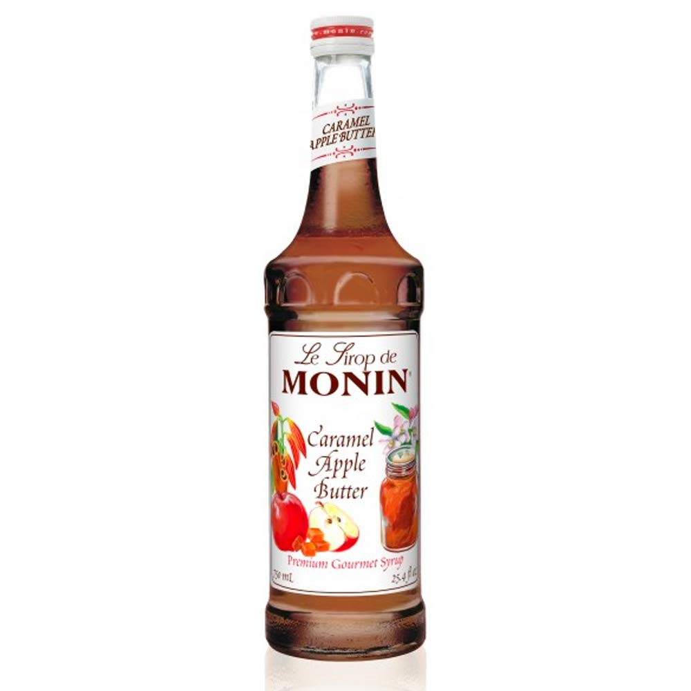 Monin - Caramel Apple Butter Syrup, Buttery Caramel and Cooked Apple Flavor, Natural Flavors, Great for Hot Lattes, Ciders, and Seasonal Cocktails, Vegan, Non-GMO, Gluten-Free (750 ml)