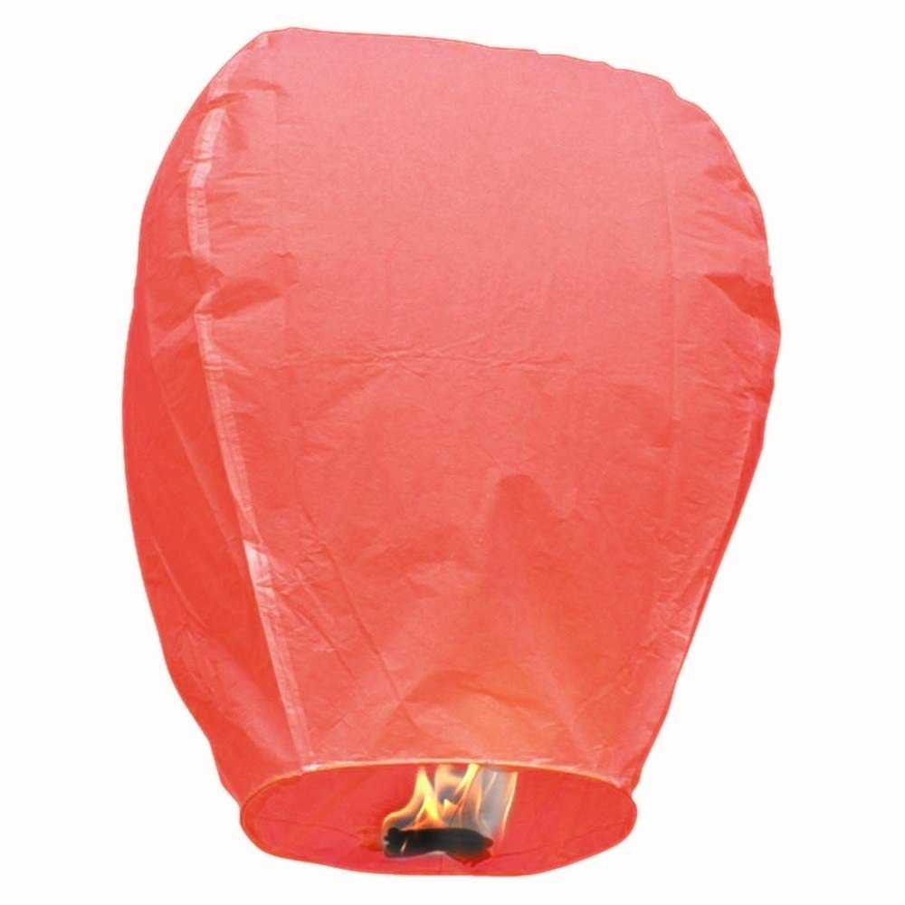 MISC Red 5 Floating Lanterns to Release in Sky Chinese Flying Lighted Wish Candles Inflatable Air Biodegradable by MISC (Image #1)