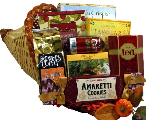 Delight Expressions Cornucopia of Cheer Thanksgiving Gourmet Food Gift Basket with Meat and Cheese (Small)