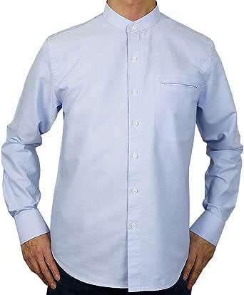 Sinologie - Camisa de cuello mao con botones de algodón Oxford, color azul cielo