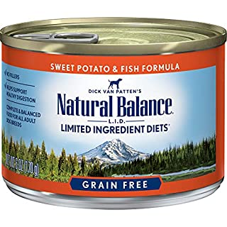 Natural Balance L.I.D. Limited Ingredient Diets Wet Dog Food, Sweet Potato & Fish Formula, 6 Ounce Can (Pack of 12)