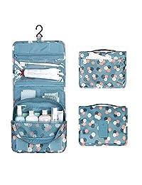 Hanging Toiletry Bag, Multi-function Waterproof Bathroom Storage Nylon Cosmetic Bags with Hook for Women, Hanging Travel Toiletry Bag, Lanting (Blue)