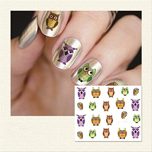1 Sheets Owl Nail Art Stickers Manicure Decor Water Transfer Nails Wrap Paint Tattoos Stamping Plates Templates Tools Tips Kits Grand Popular Xmas Winter Snow Holiday Stick Tool Vinyls Decals Kit by GrandSao