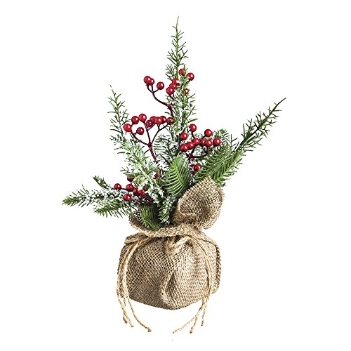 Cypress Home Acrylic Holly Berry Burlap Tabletop Floral Decor