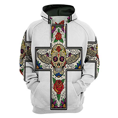Unisex,Sugar Skull Decor,3D Digital Print Pullover Hoodie Hooded Sweatshirt SWEA