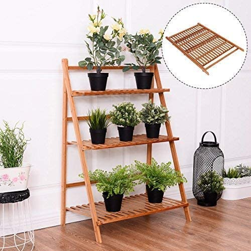 "39/""x25/"" Wood 3 Tier Folding Bookcase Stand Shelf Plant Picture Display Ladder"