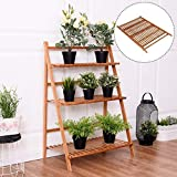 COSTWAY 3 Tier Folding Plant Stand Bamboo Flower Pot Display Shelf Ladder Garden Outdoor